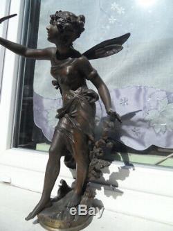 Vintage Statue Art Nouveau 1900 By L Moreau Woman Fairy With Flowers