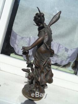 Vintage Statue Art Nouveau 1900 L Moreau Woman Flower Fairy