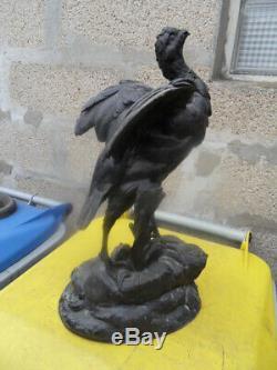 Vintage Statue Cast Art By P. Comolera Art Nouveau Rooster Or Partridge Bruyere