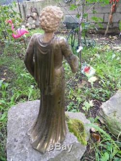 Vintage Statue Woman Elegant Bronze Chryselephantine Art Nouveau