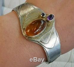 Vintage Sterling Silver Bracelet Amethyst And Amber, Art Nouveau