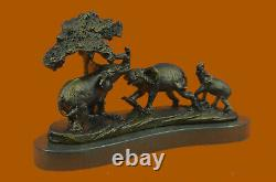 Vintage Style 100% Genuine Bronze Sculptural Art Elephants Figurine Statue