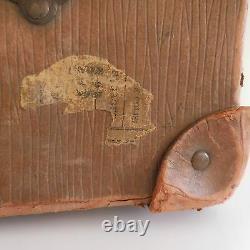 Vintage Travel Cardboard Suitcase Brass Art Deco Belle Epoque 1920 1930 France