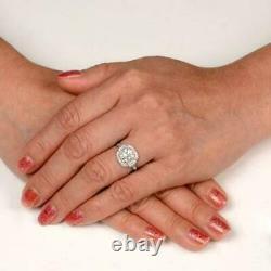 Vintage Unique Art Edwardian Engagement Ring 3 Ct Cushion Diamond Silver