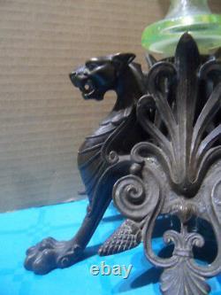 Vintage Vase Cornet Uranium Glass Centerpiece Bronze Griffin Napoleon New Art