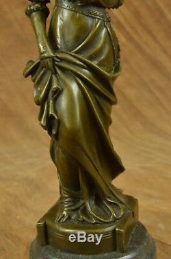 Vintage Victorian Art Nouveau Artist Signed Bronze Patina Spelter Hot Iron Deco