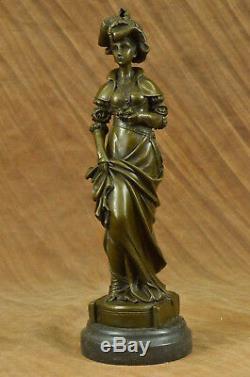 Vintage Victorian Style Art Nouveau Artist Signed Bronze Patina Figurine Cast Iron