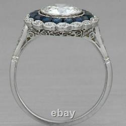 White - Blue Zircone Vintage Art Deco Engagement Silver Ring Sterling S925