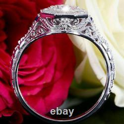 White Moissanite Rond Art Deco Vintage Engagement Ring 14k Or White