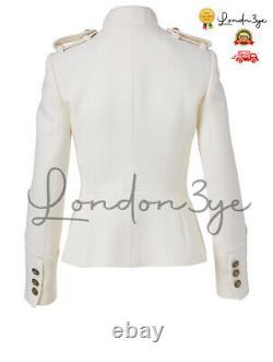 Woman White Wool Military Jacket Officer Marine Blazer Army Admiral Safari