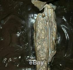 Work Of Art Of Abstract Statue Bronze / Glass In Hand Vintage