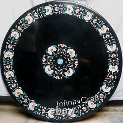 107x107cm Noir Marbre Salle à Manger Table Haut Art Vintage Inlaid Table
