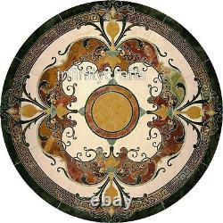 127x127cm Unique Restaurant Table Haut Marbre Salle à Manger Art Vintage Inlaid