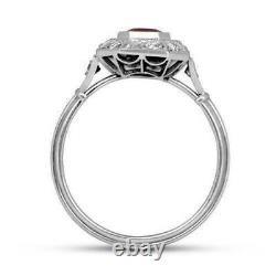 14K or Blanc 1.75Ct Rouge Émeraude Coupe Diamant Vintage Art Déco Bague Halo