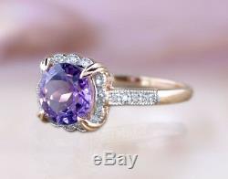 14k or Massif Naturel Bague Diamant Améthyste Art Déco Vintage DJR0013