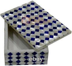 15.2cmx10.2cmx2 Marbre Blanc Haut Bijouterie Vintage Boite Mosaïque Lapis Art