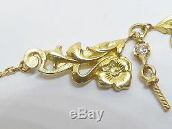18ct gold pendant, floral Art Nouveau vintage hanging with a conch pearl 1.80cts