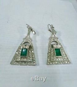 1930S Vintage Déco Art Nouveau or & Émeraude 2.00 Ctw. Diamond Oreille
