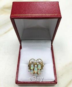 1.38 Carats Vintage Edouardien Opale et Diamant Art Déco Cocktail Bague 14K
