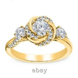 1.93Ct Diamant Rond Vintage Art Déco Mariage Fiançailles Bague 14k or Jaune FN