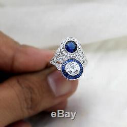 2Ct Blanc Diamant Saphir Bleu Vintage Art Déco Fiançailles Bague 10kt or Blanc