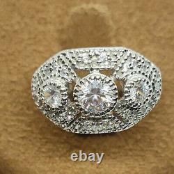 2Ct Diamant Vintage Ancien Fiançailles Art Déco Bague Grappe 14k Blanc or Sur