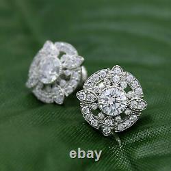 2.00 CT Diamant Rond Vintage Art Déco Boucles D'Oreilles 14k Blanc or Sur