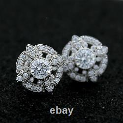 2.00ct Coupe Ronde Art Déco Diamant VVS1/D Vintage Clou Boucles 10k or Blanc FN