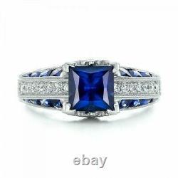 2.15 Ct Diamant & Saphir Art Déco Vintage Bague Antique En Argent Sterling 925