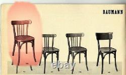 2 Chaises Bistrot vintage Baumann 1950 assise étoile no Thonet, no Fischel