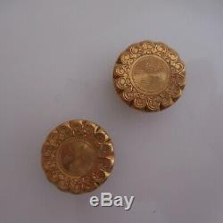 2 boutons manchette or bijoux joaillerie vintage Art Nouveau Déco France N4041