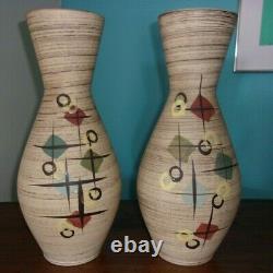 2 grands vases vintage west germany, style art déco art nouveau 40 cm