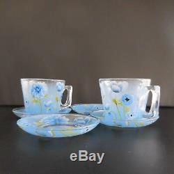2 tasses 4 soucoupes verre café thé art nouveau art-déco vintage France