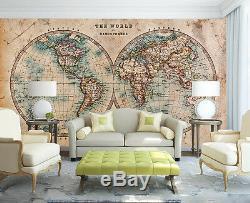 3D Carte Vintage 7 Photo Papier Peint en Autocollant Murale Plafond Chambre Art