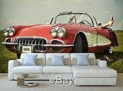 3D Papier Peint Mural Imprimé Décalque Vintage Auto Affiche Décor Tapisserie Art