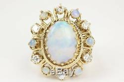 3.85tcw Art Déco Vintage Ancien Opale Diamant Cocktail Bague 1920s Filigrane