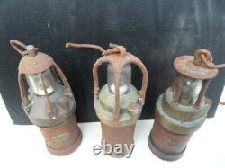 3 Vintage minor lamp ancienne lampe de mineur Arras marqué 225