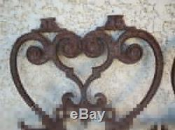 4 Anciennes grilles en fonte sculpture volute forme vintage art nouveau