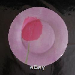4 assiettes plates verre tulipe vintage art nouveau déco design PN France N2874