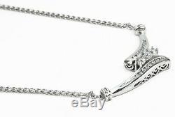 55 Pts Diamant Art Déco Vintage Collier de Valeur Pièce en 14K or Blanc