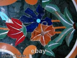 76.2cm Vert Dîner Table Haut Forme Ronde Bureau Incrustation Avec Art Vintage