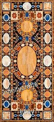 76.2x183cm Salle à Manger Table Haut Marbre Dîner Art Vintage Inlaid
