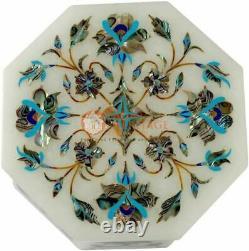 7.6cmx7.6cmx2 Marbre Blanc Bijouterie Vintage Boite Turquoise Marqueterie Art
