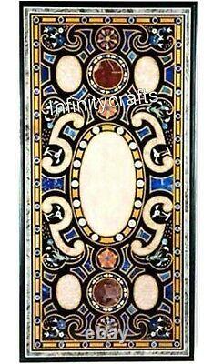 91.4x183cm Noir Salle à Manger Table Marbre Patio Bureau Table Haut Art Vintage
