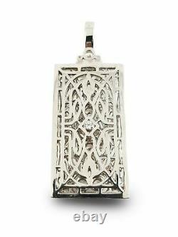925 Argent Sterling Pendentif Blanc Rond Classique Vintage Style Art Déco