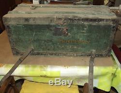 Ancien Coffre BOTTERONT Voyage Bois Vintage rétro 1900.72 x 33 x 32 cm