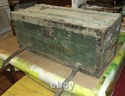 Ancien Coffre Malle BOTTERONT Voyage Bois Vintage rétro 1900.72 x 33 x 32 cm