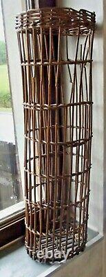 Ancien Panier Rotin Bois Forme Fuseau Filtre grappe Raisin Vigne vintage 1900