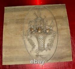 Ancien Panneau bois sculpté Panier de bouquet roses de style art nouveau vintage