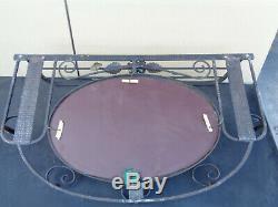 Ancien miroir ovale porte manteau fer forgé art nouveau déco 1950 design vintage
